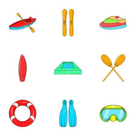 Swimming on water icons set. Cartoon illustration of 9 swimming on water vector icons for web Illustration