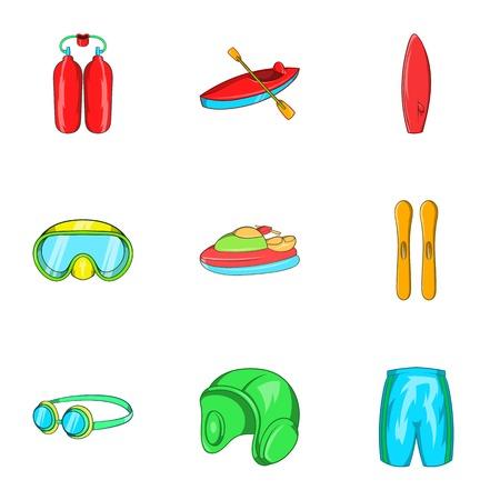 Active water sport icons set. Cartoon illustration of 9 active water sport vector icons for web