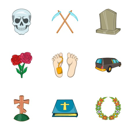 fatality: Funeral services icons set. Cartoon illustration of 9 funeral services vector icons for web