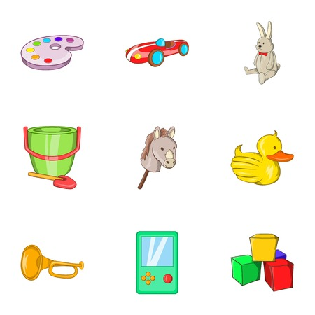 rubber tube: Toys icons set. Cartoon illustration of 9 toys vector icons for web Illustration