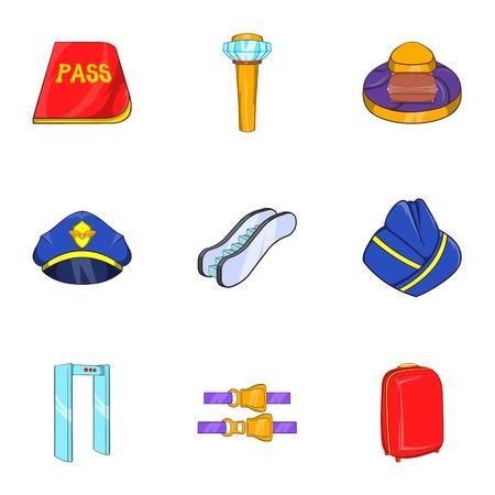Check at airport icons set. Cartoon illustration of 9 check at airport vector icons for web