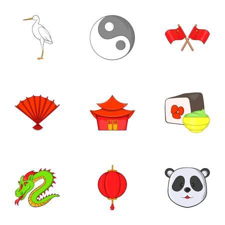 China icons set. Cartoon illustration of 9 China vector icons for web