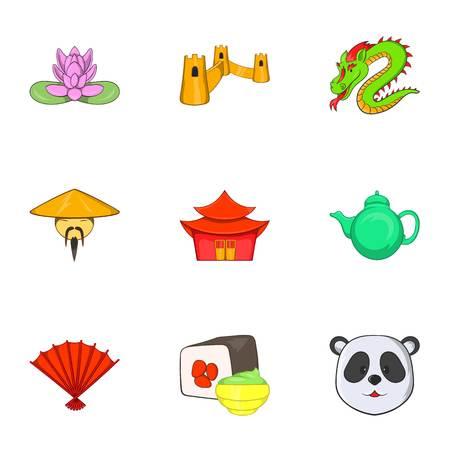 asociacion: Estancia en iconos de China establecidos. Ilustración de dibujos animados, de 9 de estancia en China iconos de vectores para la web