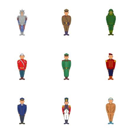 Military icons set. Cartoon illustration of 9 military vector icons for web Illustration