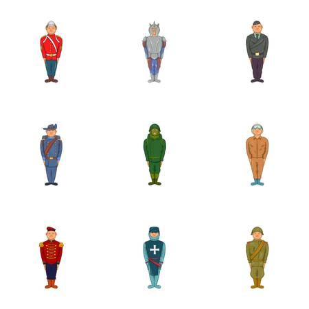Types of soldiers icons set. Cartoon illustration of 9 types of soldiers vector icons for web Illustration