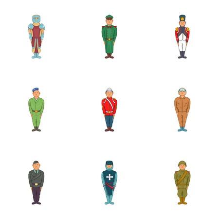 Types of military icons set. Cartoon illustration of 9 types of military vector icons for web