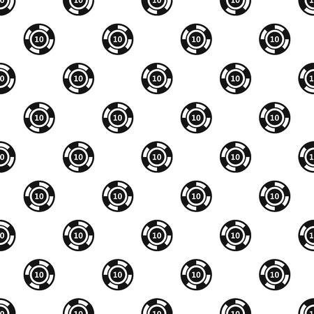 token: Poker chip nominal 10 pattern. Simple illustration of poker chip nominal 10 vector pattern for web