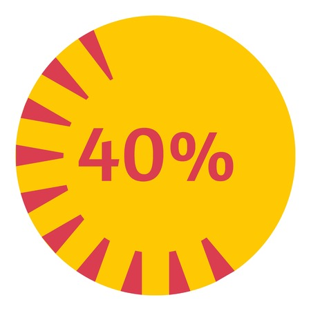Web preloader 40 percent icon. Flat illustration of web preloader vector icon for web design