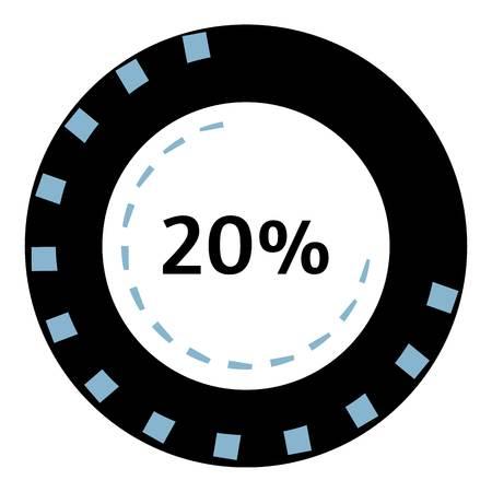 preloader: Web preloader 20 percent icon. Flat illustration of web preloader vector icon for web design
