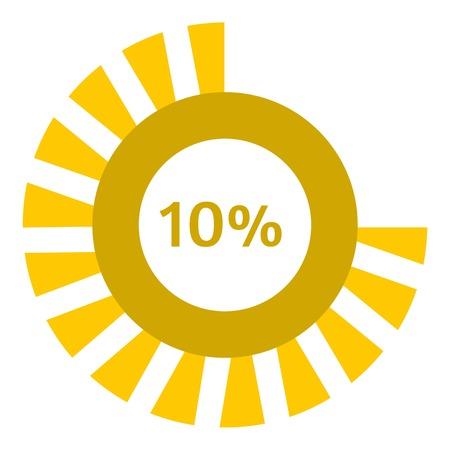 preloader: Web preloader 10 percent icon. Flat illustration of web preloader vector icon for web design