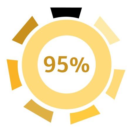 95: Web preloader 95 percent icon. Flat illustration of web preloader vector icon for web design