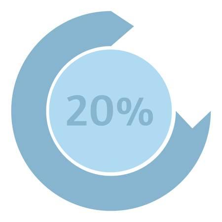 preloader: Loading circle 20 percent icon. Flat illustration of web preloader vector icon for web design Illustration