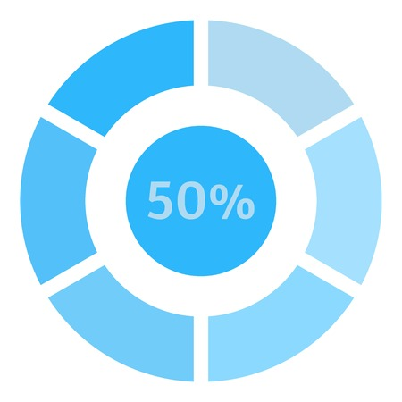 preloader: Circle loading, 50 percent icon. Flat illustration of web preloader vector icon for web design