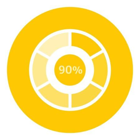 completion: Web preloader 90 percent icon. Flat illustration of web preloader vector icon for web design
