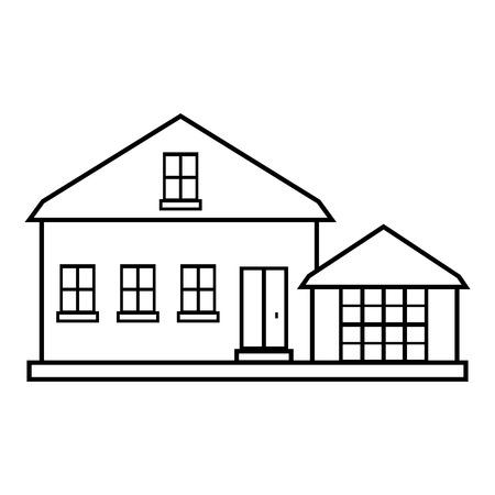 suburban: Suburban american house icon. Outline illustration of house vector icon for web design