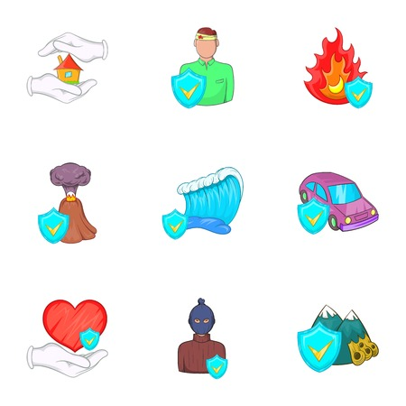 Disaster icons set. Cartoon illustration of 9 disaster vector icons for web Illustration