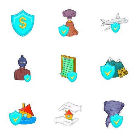 Crash icons set. Cartoon illustration of 9 crash vector icons for web Illustration