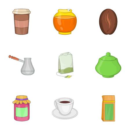 turk: Coffee icons set. Cartoon illustration of 9 coffee vector icons for web