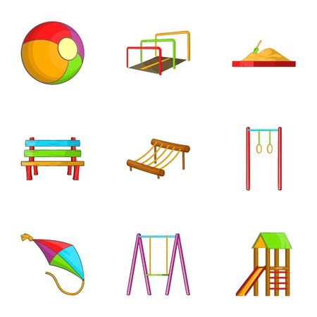 kiddies: Attractions for children icons set. Cartoon illustration of 9 attractions for children vector icons for web