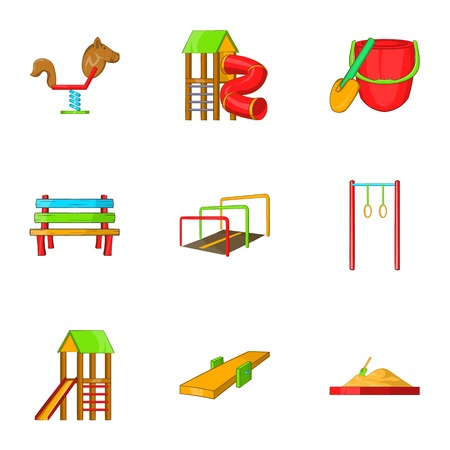 rides: Children rides icons set. Cartoon illustration of 9 children rides vector icons for web