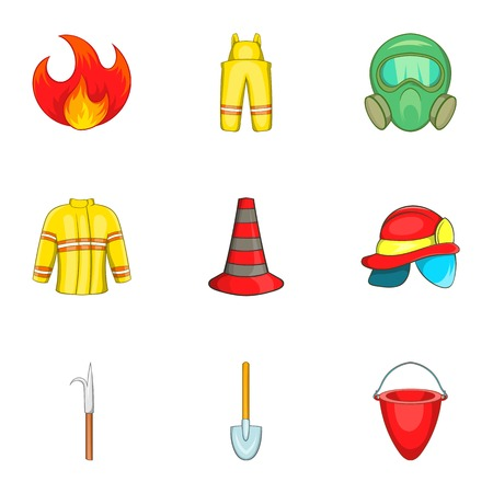 fiery: Fiery profession icons set. Cartoon illustration of 9 fiery profession vector icons for web Illustration