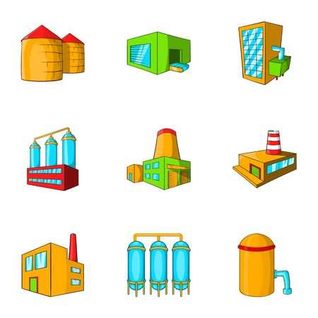 industrial complex: Industrial complex icons set. Cartoon illustration of 9 industrial complex vector icons for web Illustration