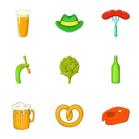 Alcoholic beer festival icons set. Cartoon illustration of 9 alcoholic beer festival vector icons for web Illustration