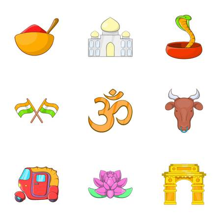 India Republic icons set. Cartoon illustration of 9 India Republic vector icons for web