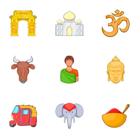 future buddha: Tourism in India icons set. Cartoon illustration of 9 tourism in India vector icons for web