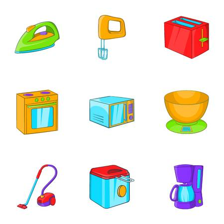 fryer: Devices for home icons set. Cartoon illustration of 9 devices for home vector icons for web