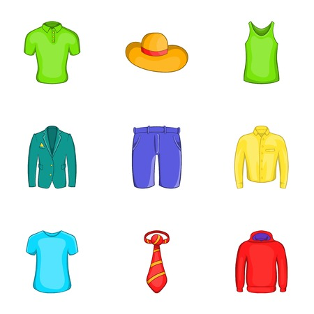Different clothes icons set. Cartoon illustration of 9 different clothes vector icons for web