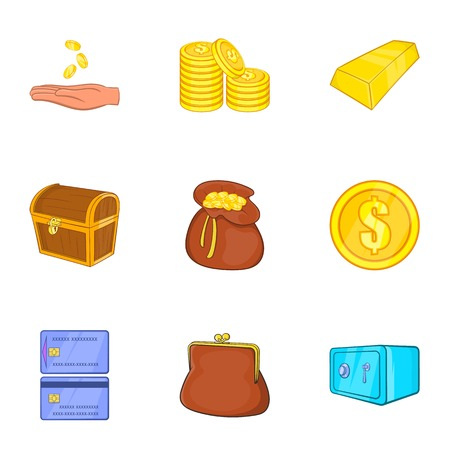 Cash icons set. Cartoon illustration of 9 cash vector icons for web