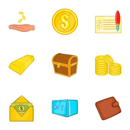 Bank and money icons set. Cartoon illustration of 9 bank and money vector icons for web