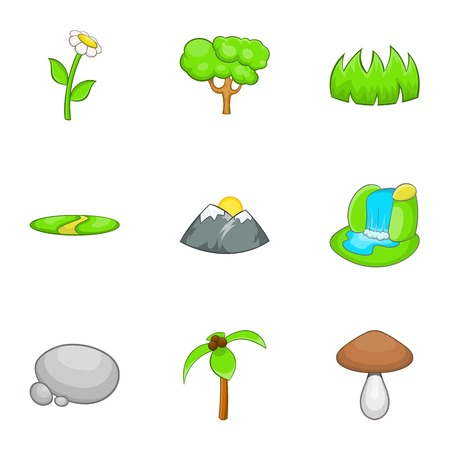 cascade mountains: Environment icons set. Cartoon illustration of 9 environment vector icons for web