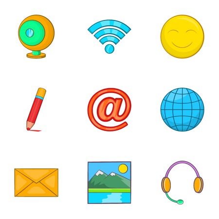 earphone: Internet icons set. Cartoon illustration of 9 internet vector icons for web
