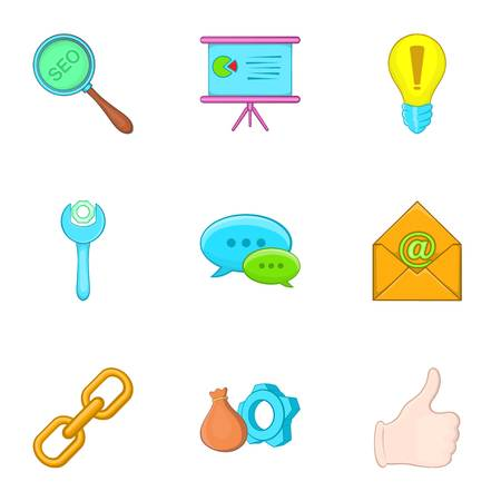 SEO icons set. Cartoon illustration of 9 SEO vector icons for web
