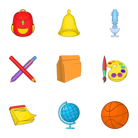 secondary: Education icons set. Cartoon illustration of 9 education vector icons for web