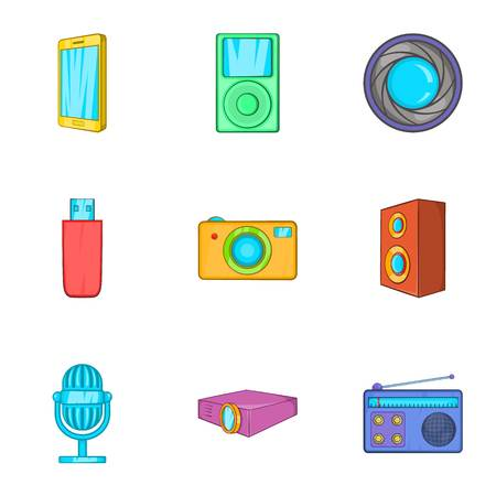 hdtv: Electronics icons set. Cartoon illustration of 9 electronics vector icons for web