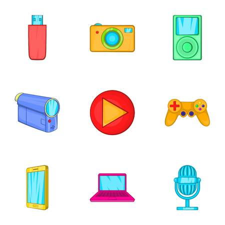 electronic gadget: Electronic gadget icons set. Cartoon illustration of 9 electronic gadget vector icons for web