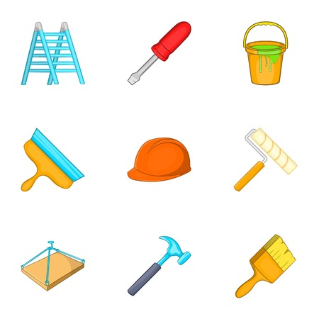 Construction icons set. Cartoon illustration of 9 construction vector icons for web Illustration