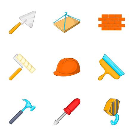plasterer: Repair icons set. Cartoon illustration of 9 repair vector icons for web Illustration