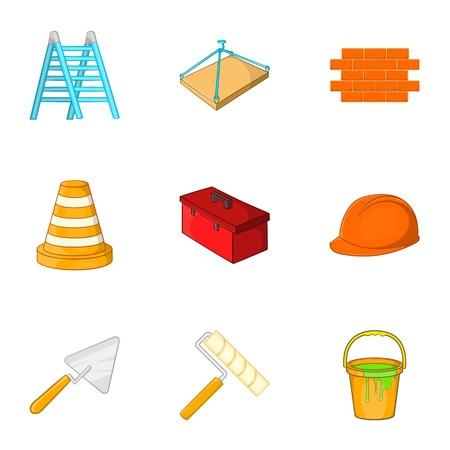 Repair tools icons set. Cartoon illustration of 9 repair tools vector icons for web