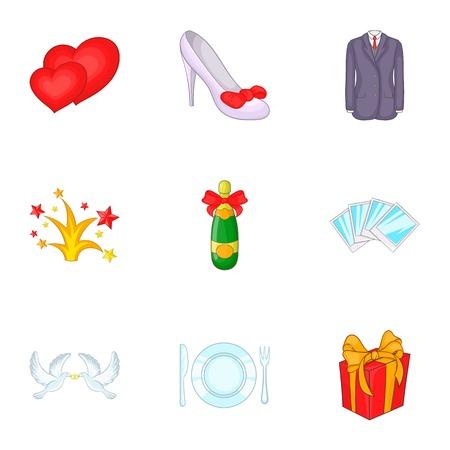 Wedding ceremony icons set. Cartoon illustration of 9 wedding ceremony vector icons for web