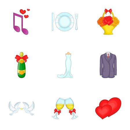 Marriage ceremony icons set. Cartoon illustration of 9 marriage ceremony vector icons for web Illustration