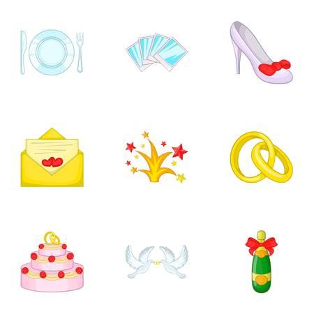 Marriage icons set. Cartoon illustration of 9 marriage vector icons for web Illustration