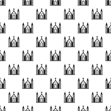 congregation: Christian catholic church building pattern. Simple illustration of christian catholic church building vector pattern for web