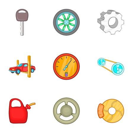 timing belt: Garage icons set. Cartoon illustration of 9 garage vector icons for web