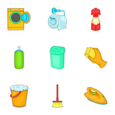 besom: Sanitation icons set. Cartoon illustration of 9 sanitation vector icons for web