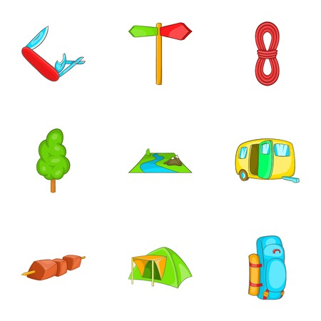 wildlife shooting: Vacation in forest icons set. Cartoon illustration of 9 vacation in forest vector icons for web