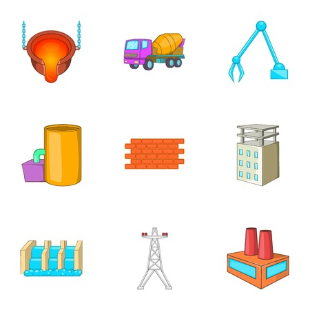 metallurgical: Metallurgical plant icons set. Cartoon illustration of 9 metallurgical plant vector icons for web